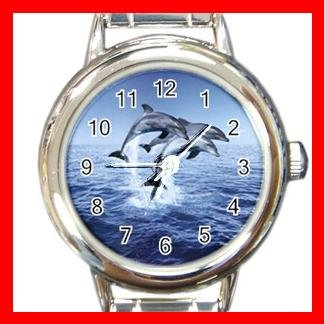 DOLPHINS LEAPING SEA Italian Charm Wrist Watch 634