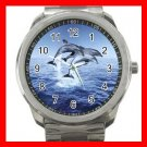 DOLPHINS LEAPING SEA Silvertone Sports Metal Watch 007