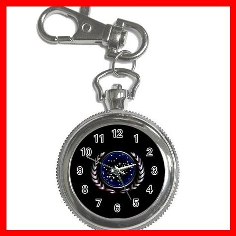 STAR TREK FEDERATION OF PLANETS LOGO Silvertone Key Chain Watch 004