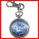 DOLPHINS LEAPING SEA Silvertone Key Chain Watch 005