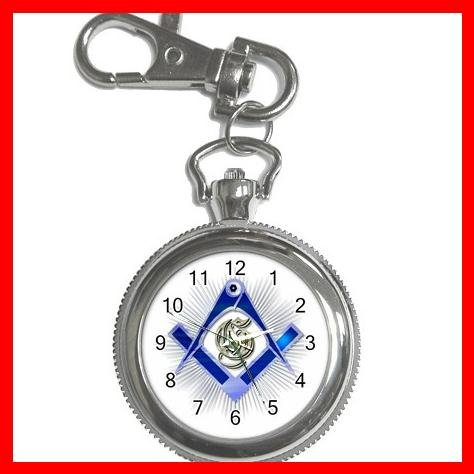 BLUE FREEMASONRY MASON Silvertone Key Chain Watch 006