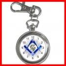 BLUE FREEMASONRY MASON Silvertone Key Chain Watch 006