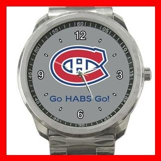Hockey Montreal Canadians Canadiens HABS NHL Silvertone Sports Metal Watch 014