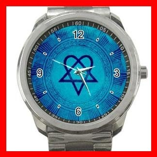 Blue Heartagram HIM Silvertone Sports Metal Watch 015