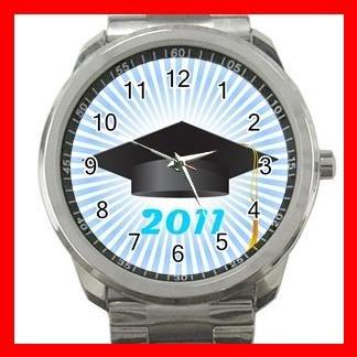 2011 Graduation Cap Students Silvertone Sports Metal Watch 016