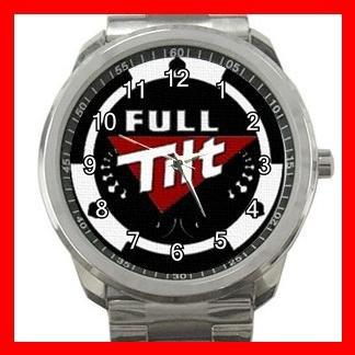 Full Tilt Poker Game Fun Silvertone Sports Metal Watch 020