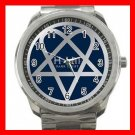 Blue Heartagram Hobby Silvertone Sports Metal Watch 021