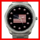 US. Flag Stars Patriotic Silvertone Sports Metal Watch 029
