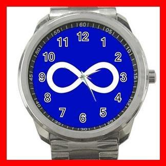 Blue Metis Flag Silvertone Silvertone Sports Metal Watch 032