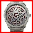 Wicca Wiccan Pentagram Silvertone Silvertone Sports Metal Watch 034