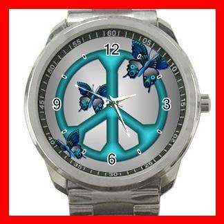 Peaceful Blue Butterflies Peace Silvertone Silvertone Sports Metal Watch 035