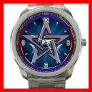Wicca Goddess Pentagram Moons Silvertone Silvertone Sports Metal Watch 036