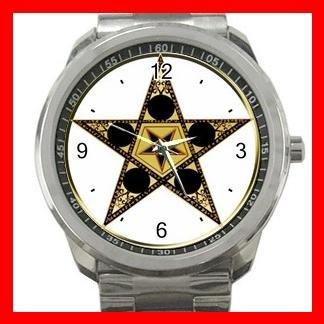 Wicca Wicca Pentagram Star Silvertone Silvertone Sports Metal Watch 038