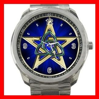 Wicca Wicca Pentagram Triquetra Silvertone Silvertone Sports Metal Watch 039