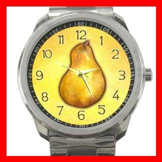 Yellow Pear Fruit Silvertone Sports Metal Watch 042