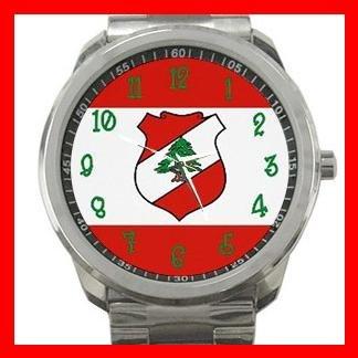 LEBANESE FLAG Lebanon Green Cedar Silvertone Sports Metal Watch 046