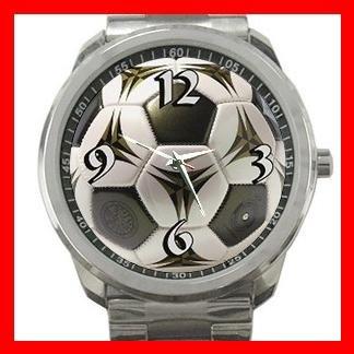 Modern Soccer Football Sports Silvertone Sports Metal Watch 048