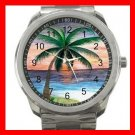 Sunset Palm Beach Silvertone Sports Metal Watch 049