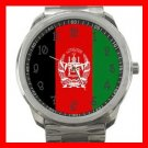 Afghanistan Flag Nation Silvertone Sports Metal Watch 051