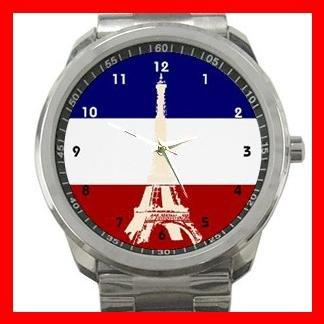 Paris Eiffel Tower French Flag Silvertone Sports Metal Watch 055
