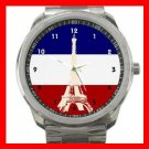 Paris Eiffel Tower French Flag Silvertone Sports Metal Watch 055