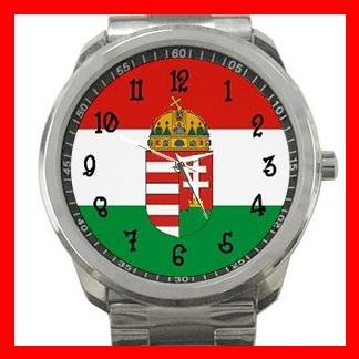 Hungary Flag Nation Silvertone Sports Metal Watch 057