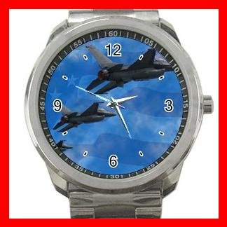 F16 F-16 Falcon Aircraft U.S. Flag Silvertone Sports Metal Watch 058