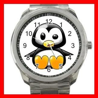 Cute Penguin Birds Silvertone Sports Metal Watch 059