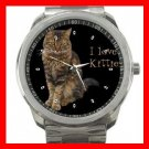 I Love Maine Coon Cat Kitten Silvertone Sports Metal Watch 061