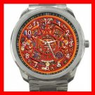 Orange Mayan Calendar Silvertone Sports Metal Watch 063