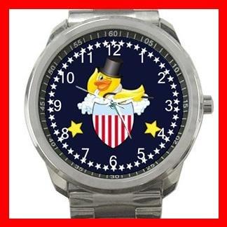Yellow Rubber Duck Ducky Silvertone Sports Metal Watch 068