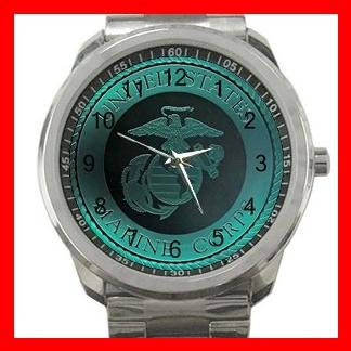 U.S Marine Corp Army Silvertone Sports Metal Watch 069