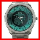 U.S Marine Corp Army Silvertone Sports Metal Watch 069