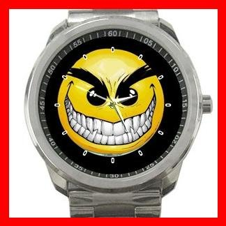 Evil Smile Smiley Face Fun Silvertone Sports Metal Watch 071