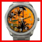 Sunset Beach Palm Tree Silvertone Sports Metal Watch 072
