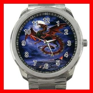 Whitby Wyrm Dragonlike Animals Silvertone Sports Metal Watch 075