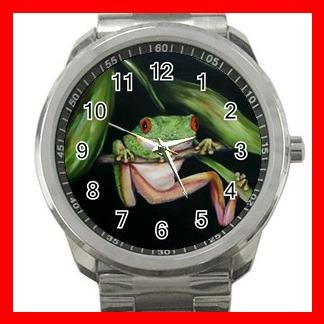 Red Eye Frog Froggy Silvertone Sports Metal Watch 076