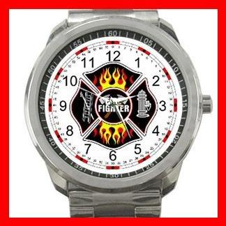 FireFighter Shield Fire Rescue Silvertone Sports Metal Watch 078