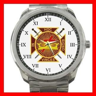 Masonic Knights Templar Silvertone Sports Metal Watch 080