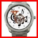 French Horn Music Instrument Fan Silvertone Sports Metal Watch 083