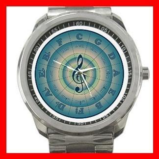 Colorful Circle of Fifths Music Fan Silvertone Sports Metal Watch 084