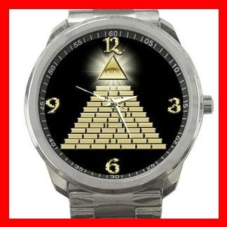 All Seeing Eye Pyramid Silvertone Sports Metal Watch 088