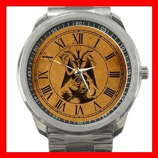 Baphomet Pagan Deity Knights Silvertone Sports Metal Watch 089