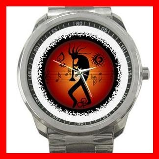 Kokopelli Kokopele Music Silvertone Sports Metal Watch 091