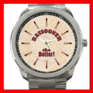 Bassooner Better Music Instrument  Silvertone Sports Metal Watch 096