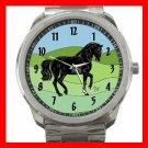 Black Horse Animals Horses Silvertone Sports Metal Watch 097