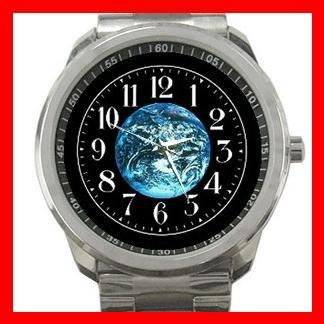 Earth Planet Solar System Silvertone Sports Metal Watch 099