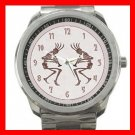 Jazzy Kokopelli Kokope Silvertone Sports Metal Watch 100