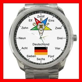 Order Of The Eastern Star Germany Silvertone Sports Metal Watch 103