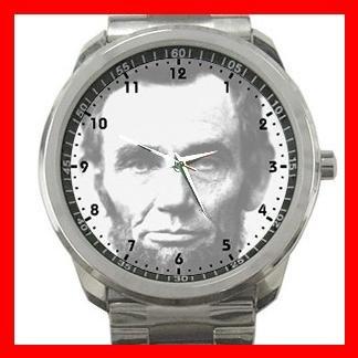 Abraham Lincoln U.S. President Silvertone Sports Metal Watch 106